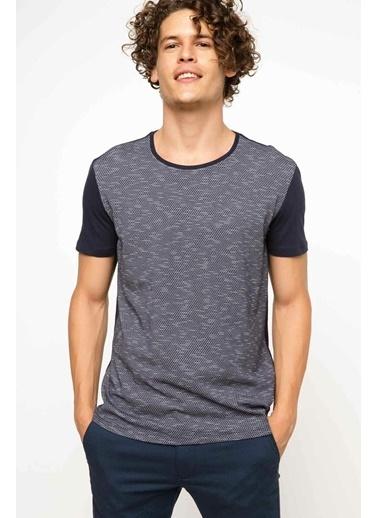 DeFacto Bisiklet Yaka T-Shirt Mavi